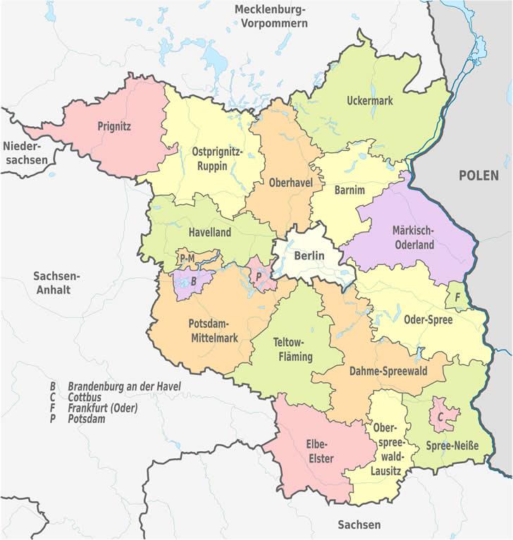Berlin Potsdam Karte.Landkreise Und Kreisfreie Städte In Brandenburg